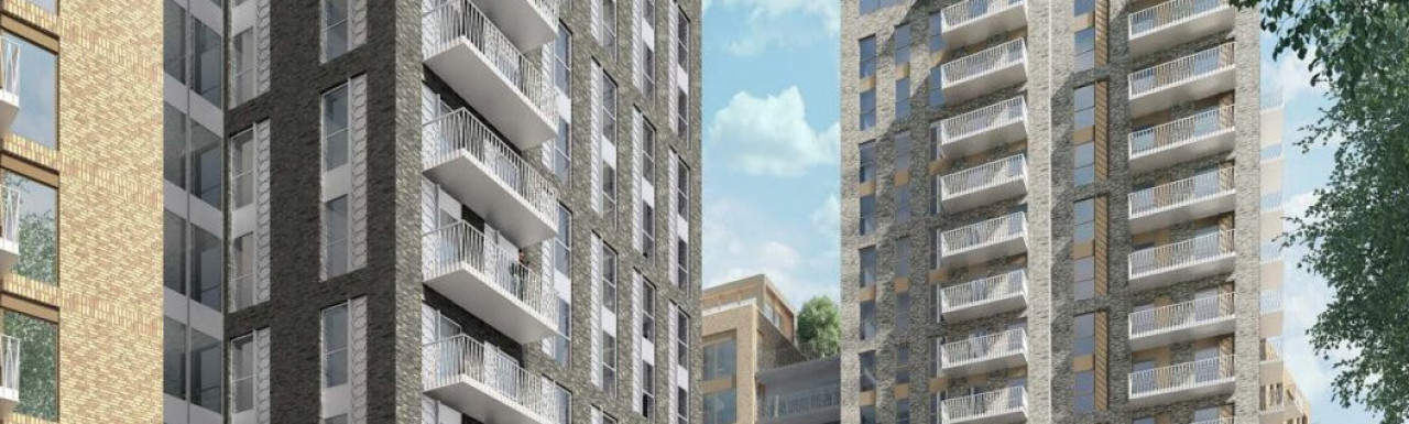 CGI of the Phoenix Buildings designed by GRID Architects; view from Phoenix Street.