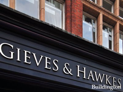 Gieves & Hawkes on the corner of Lower Sloane Street and Sloane Square in Chelsea, London SW1.