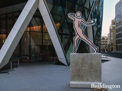 Caterina Dancing Naked by Julian Opie next to 30 St Mary Axe