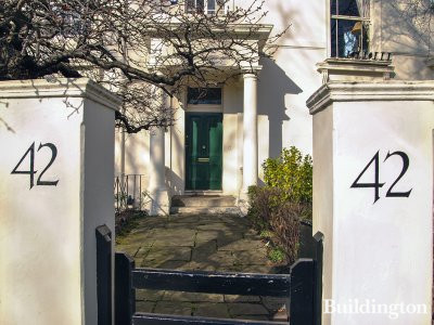 Gates at 42 Blomfield Road in Little Venice, London W9.