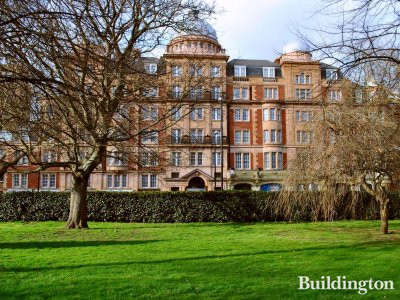 129 Bayswater Road. View to the building from Kensington Gardens. Purpose built for The Coburg Court Hotel in 1905-07.
