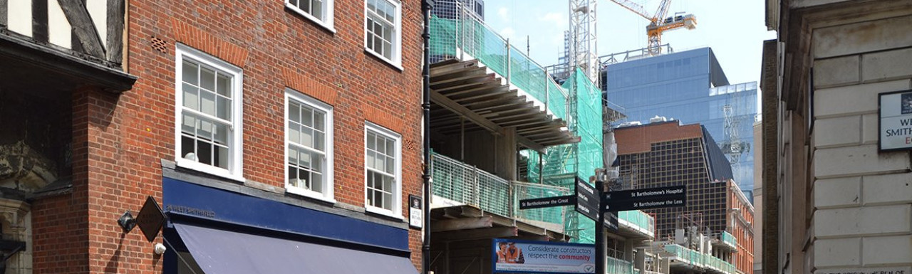 View to Barts Square construction site from West Smithfield in May 2018.