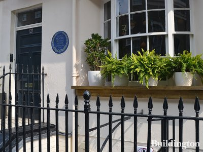 Blue plaque for George Moore at 121 Ebury Street in Belgravia, London SW1.