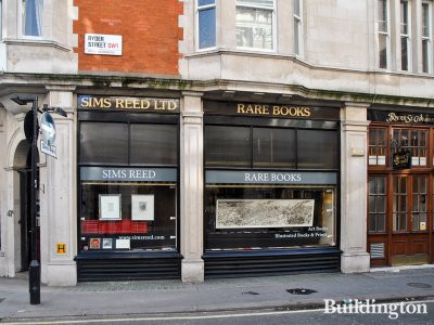 Sims Reed Rare Books windows and entrance to Ryder Street Chambers in London SW1.