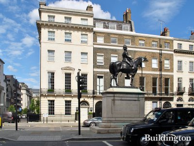 60 Portland Place and The equestrian statue of George Stuart White (Sculptor John Tweed 1922).