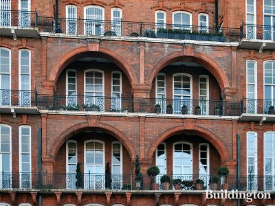 Albert Hall Mansions' windows on Kensington Road overlooking Kensington Gardens.