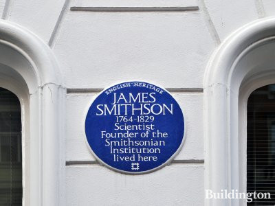 Blue plaque at 9 Bentinck Street reads: James Smithson 1764-1829, Scientist, founder of the Smithsonian Institution lived here.
