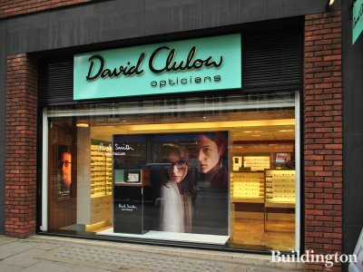 David Clulow opticians shop window at 41-43 Wigmore Street in Marylebone, London W1.