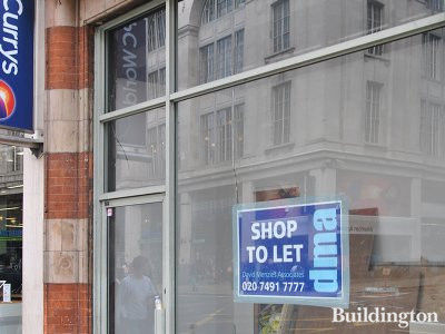 Shop to let by David Menzies Associates at 55-61 Kensington High Street in April 2013.