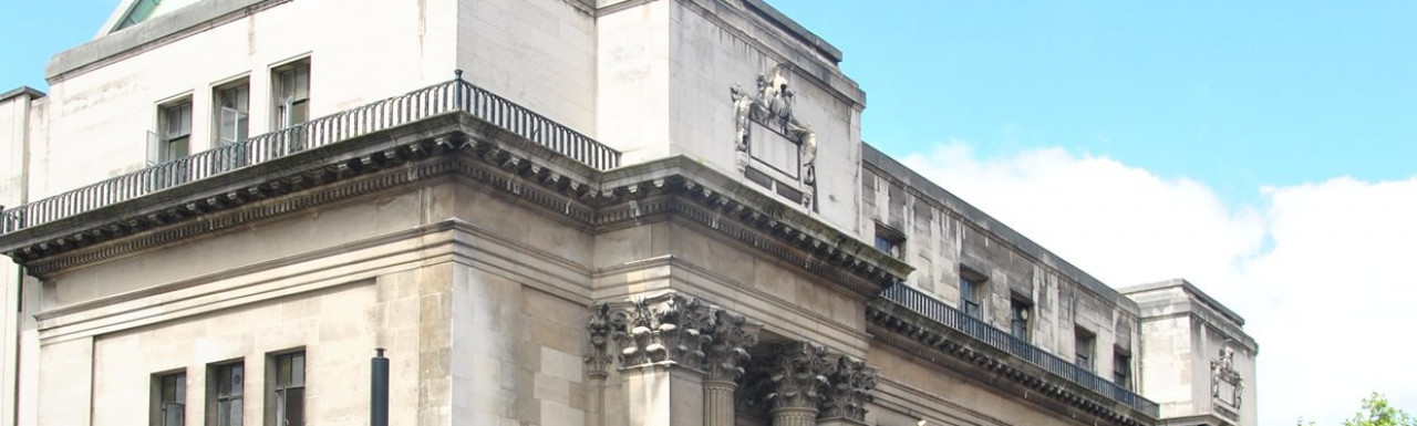 View to Old Marylebone Town Hall building on the corner of Salisbury Place and Gloucester Place.