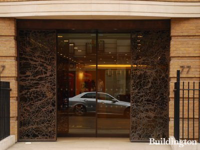 Entrance to 77 Grosvenor Street in Mayfair, London W1.