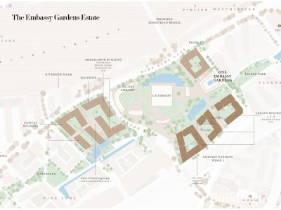 Map of Embassy Gardens development in Nine Elms