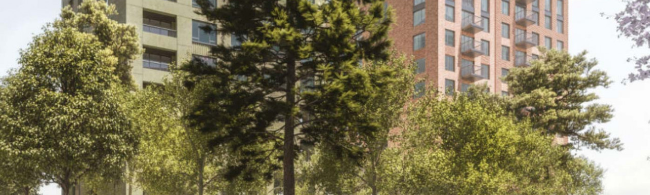 CGI of Eastway on Danescroft website.