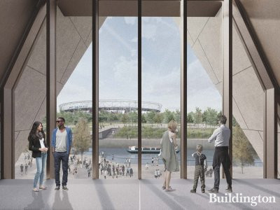 Internal render view of the new V&A museum at Stratford Waterfront, designed by O'Donnell + Tuomey. This is one of two sites planned for Queen Elizabeth Olympic Park as part of the V&A East project