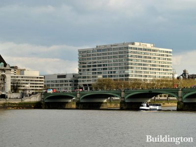 View to St Thomas' Hospital and Thames from Victoria Embankment in London SW1.