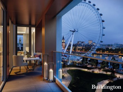 Southbank Place - balcony at night overlooking Thames and London Eye.