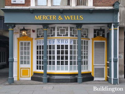 Mercer & Wells shopfront at 15 Chichester Rents in London WC2.