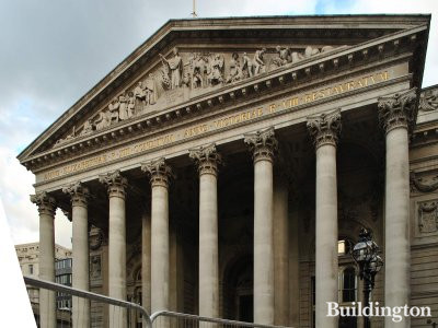 Royal Exchange building's portico of eight Corinthian columns topped by a pediment.