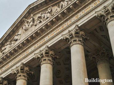 Close-up of the columns and pediment of the Royal Exchange building.