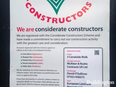 3 Canalside Walk Considerate Constructors banner on the development site.