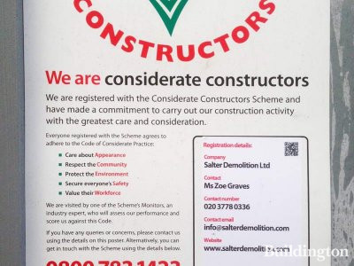 50 Eastbourne Terrace demolition works are in progress. Considerate Constructors banner on site.