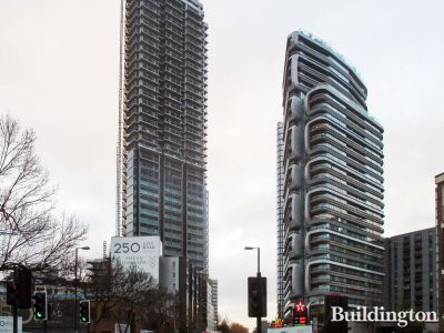 250 City Road development and Canaletto apartment building in autumn 2018.