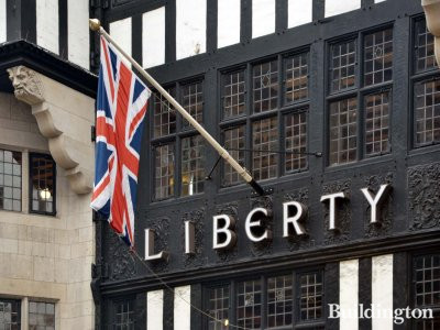The national flag of the United Kingdom on Great Marlborough Street side of the Liberty department store building in Soho, London W1.