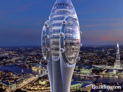 The Tulip - The upper part consists of 12 floors; screen capture of the 3D film of the proposed development.