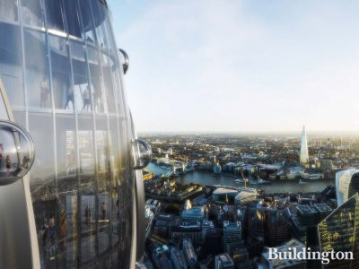 Pod lifts on top of The Tulip - screen capture of the 3D film of the proposed development.