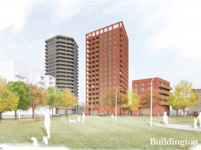 CGI of the planned residential buildings on site.
