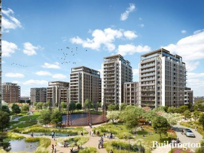 CGI of Fulham Gasworks development in south Fulham, London SW6.