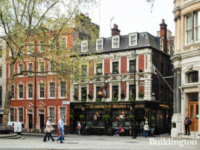 The Sherlock Holmes pub building at 10 Northumberland Street in London WC2.
