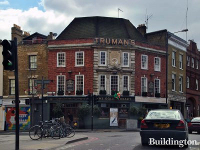 The Golden Heart pub at 110 Commercial Street in London E1.