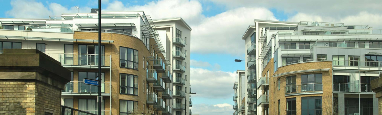 Caspian Wharf to the left and Aegean Court to the right on Violet Road in London E14.