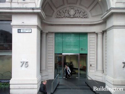 Grand entrance to 75 King William Street office building in the City of London EC4.