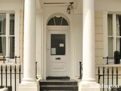 Entrance to 12 Queensborough Terrace in Bayswater, London W2.