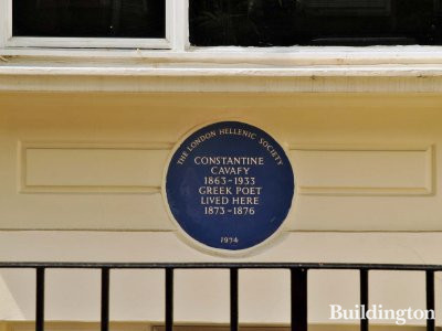 Blue plaque at 14-15 Queensborough Terrace. The London Hellenic Society - Constantine Cavafy (1863-1933) Greek Poet lived here 1873-1876.