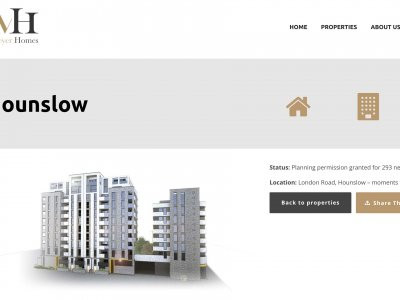 Screen capture of Hounslow Place project on Meyer Homes website.