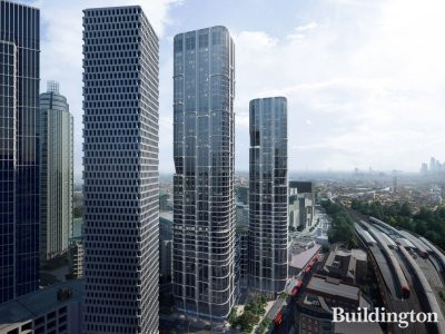 CGI of the Vauxhall Cross Island towers designed by Zaha Hadid Architects.