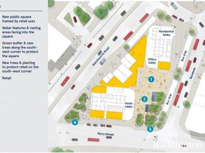 Site map of Vauxhall Cross Island development in London SW8.