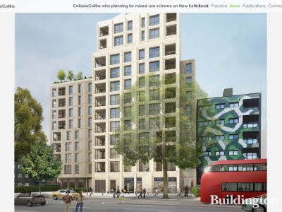 Screen capture of 136-142 New Kent Road development on architect Collado Collins website at colladocollins.com.