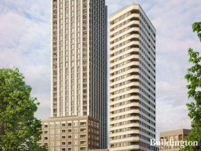 CGI of the proposed development at 596-608 Old Kent Road designed by MaccreanorLavington.