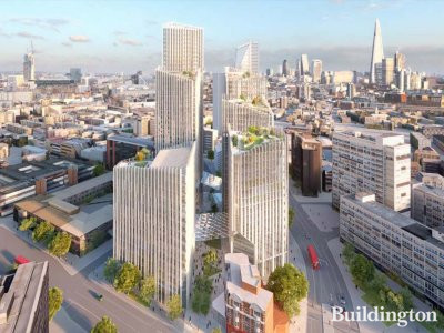 CGI of the new development at 80 London Road, Elephant and Castle, designed by Skidmore, Owings & Merrill SOM.