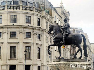 Equestrian Statue of Charles and Uganda House at 58-59 Spring Gardens in London WC2.