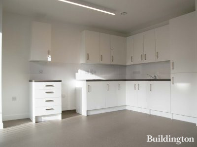 Open plan kitchen in one of the apartments at 11 Bricklayer Street at the Lollard Street development