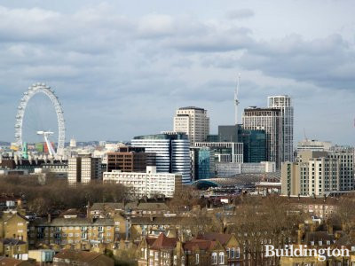 View to London Eye and Shell Centre building from the 14th floor at 3 Gundolf Street.