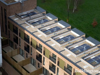 Solar panels on the roof of the residences at Lollard Street.