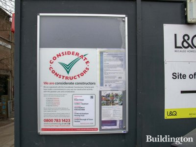 Considerate Constructors banner at Bream Street development.