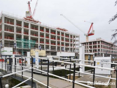 View to Bream Street development from the River Lea.