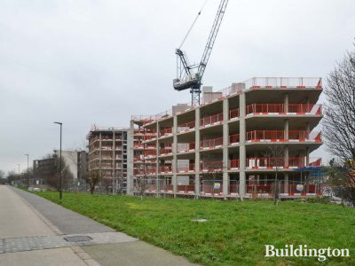 View to Aspext development by Taylor Wimpey from the Green Way footpath and cycleway.